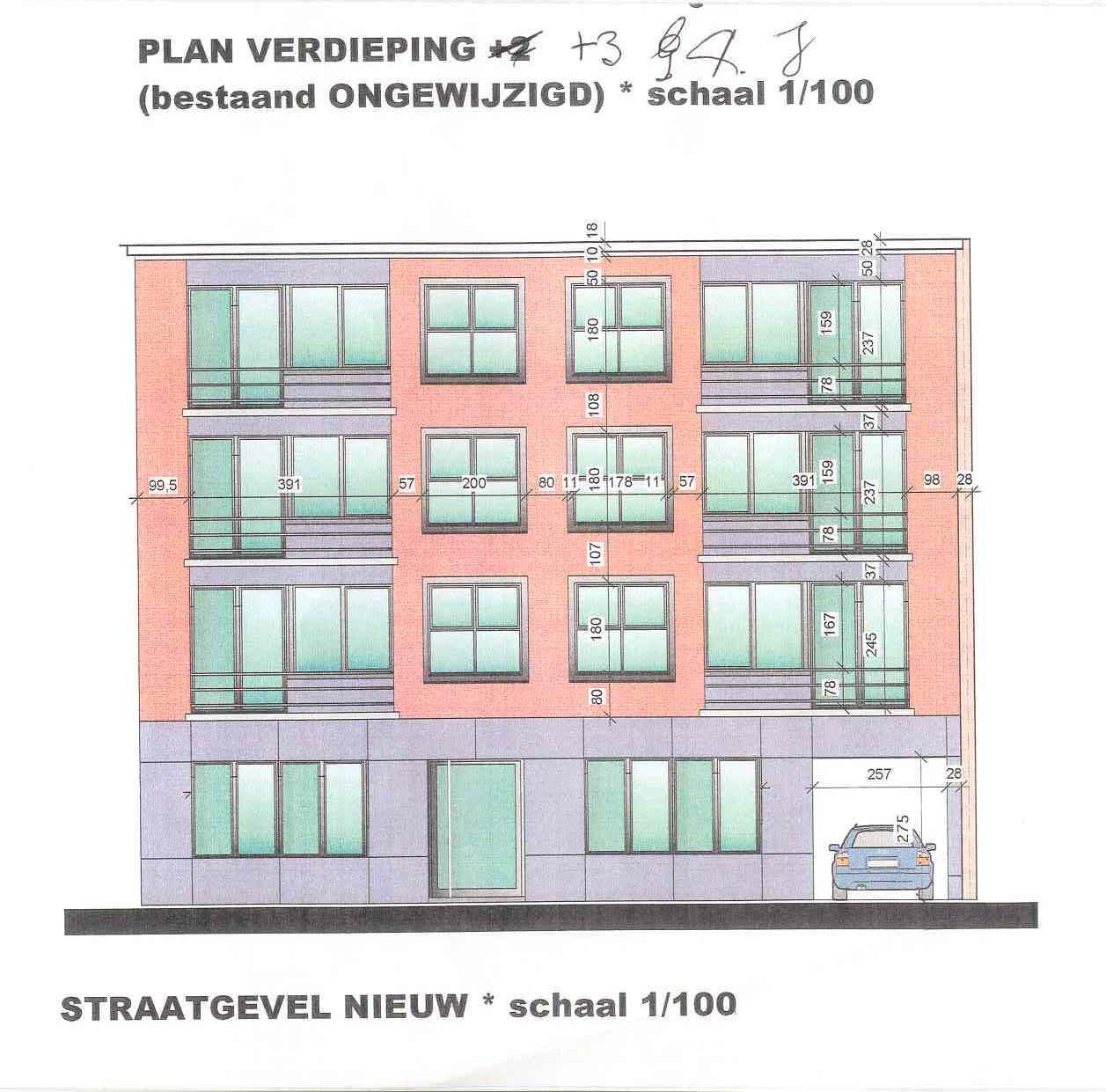 Appartement in Mortsel (straatgevel)